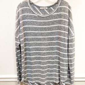 Natural Life gray white stripe Long Sleeve Top